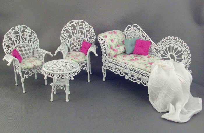 Pink And White Floral Wire Wicker